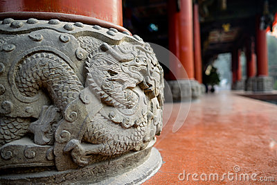 Stone pedestal with dragon relief,China