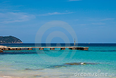 Stone pier and Mediterranean Sea on Majorca