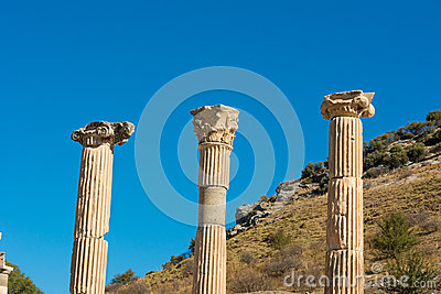 Stone pillars at Ephesus  Turkey