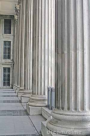 Stone Pillars Outside a Court