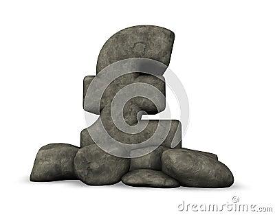 Stone pound sterling symbol