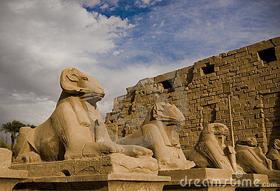 Stone ram headed Sphinx sculptures at Karnak