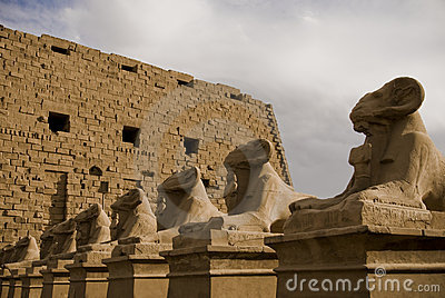 Stone ram headed Sphinx sculptures at Temple of Am