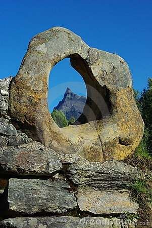 Stone ring on the old bridge, Hornindal, Norway