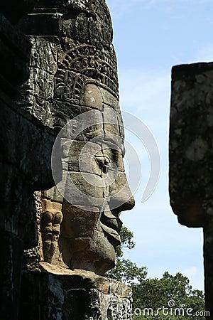Stone sculpture in Bayon Wat,Siem Reip,Cambodia