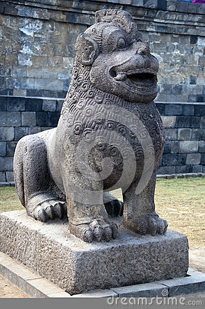 The stone sculpture of a lion of Borobudur