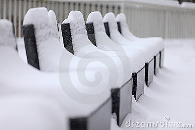 Stone Seats Snow-Covered