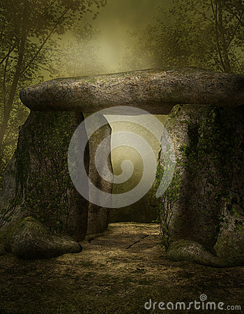 Stone shrine in a forest