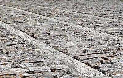 Stone sidewalk in perspective, background