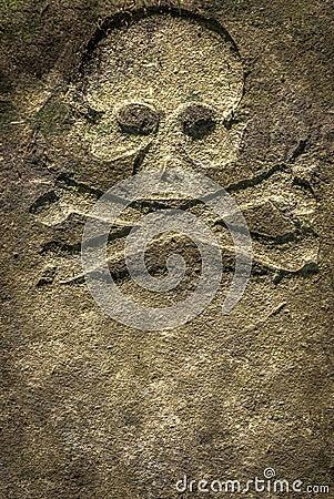 Stone Skull Crossbones