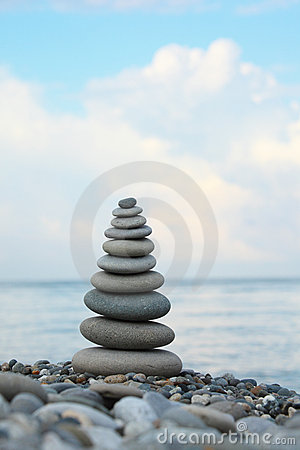 Stone stack on pebble beach
