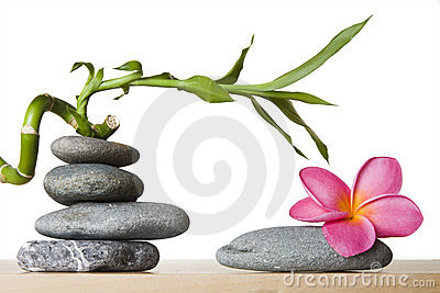 Stone Stack With Spiral Bamboo