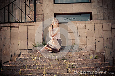On the stone stairs