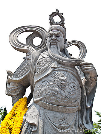 Free Stone Statue Of Guan Yu (Vertical) Royalty Free Stock Images - 19235469