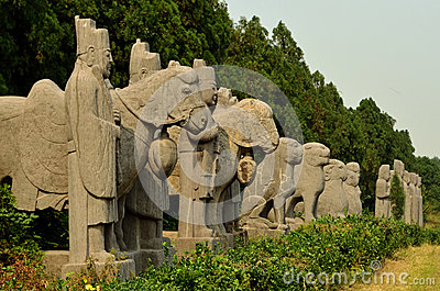 Stone Statues of Guards and Animals - Song Dynasty Tombs, China Stock Photo