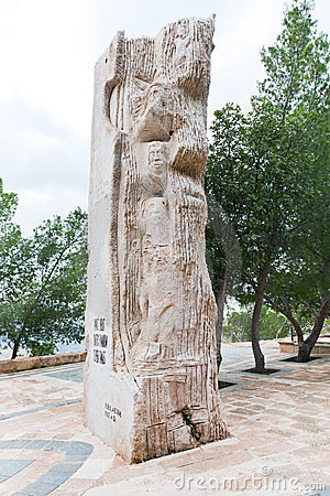 Stone stele in Moses memorial on mountain Nebo