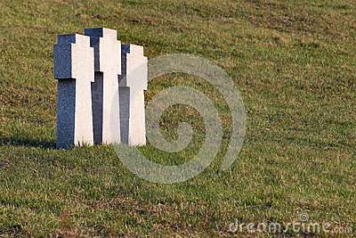 Stone Teutonic crosses on German military cemetery in Kharkov, Ukraine