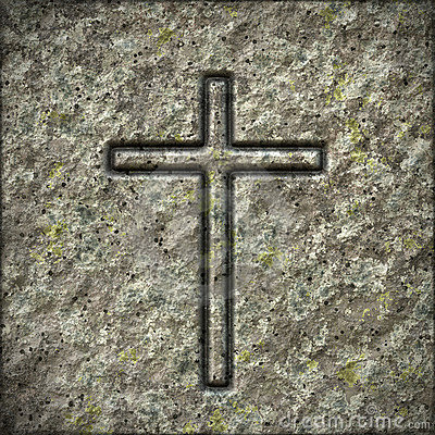 Free Stone Texture With A Cross Royalty Free Stock Image - 22340016