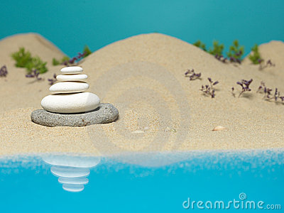 Stone tower in sea shore miniature background