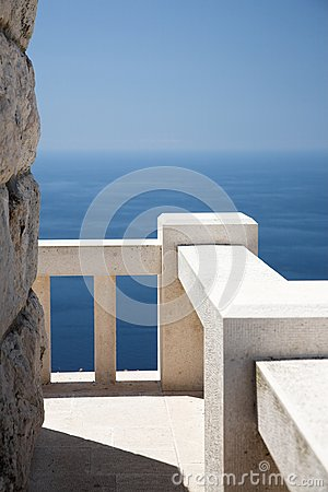 Stone viewpoint and banister, ocean view