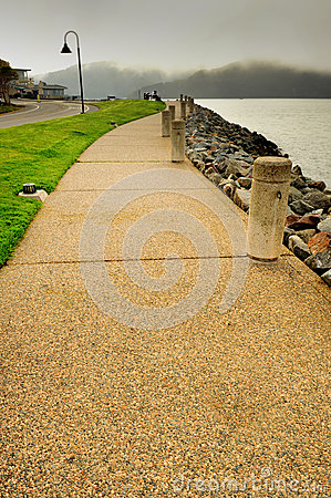 Stone walkway by the San Francisco Bay