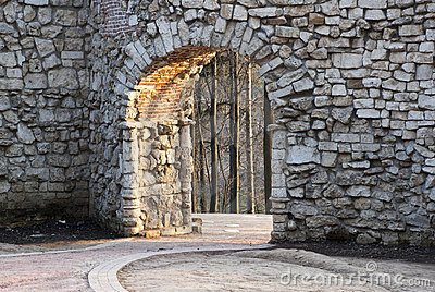 Stone wall with an arch