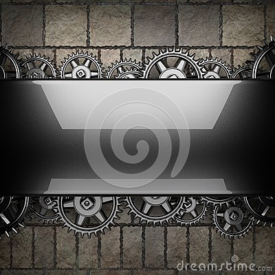 Stone wall background with metal gears Stock Photo