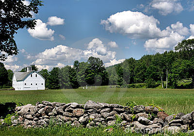 Stone Wall and Barn