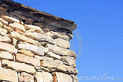 Stone wall with blue background (dETAIL)