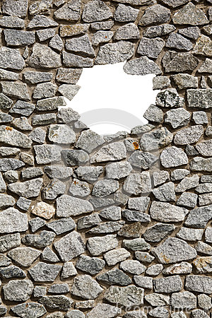 Free Stone Wall Frame With Empty Small Hole. Stock Photo - 58485690