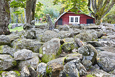 Stone wall with red barn