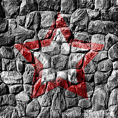Stone wall with star