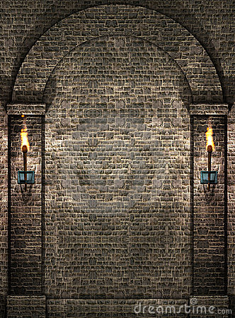 Stone wall with torches