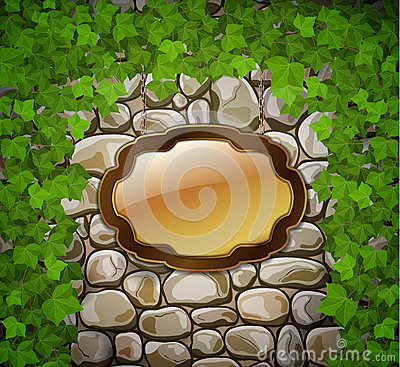 Stone wall with wooden shield