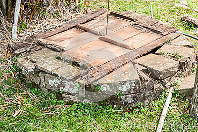 Stone Well Wood Cover