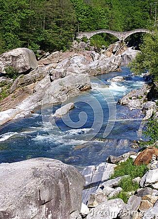 Stoned bridge in a gorge