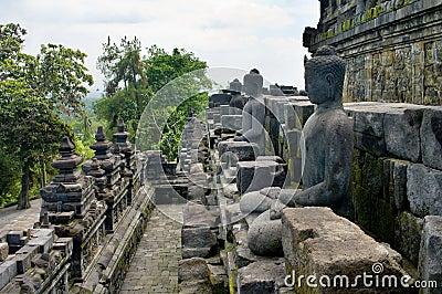 Stoned image of Buddha in Borobudur