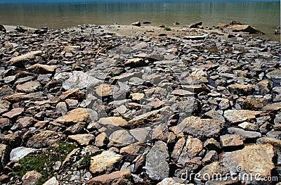 Stoned lake shore