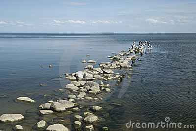 A stoned pier in the lagoon or lake