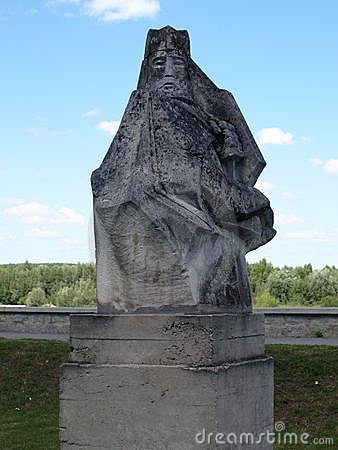 Stoned statue of Casimir the Great Editorial Photo