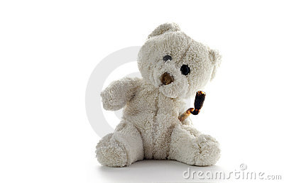 Stoned Teddy bear on neutral background