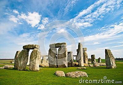 Stonehenge with blue sky.