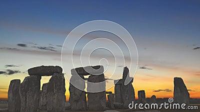 Stonehenge at dusk, video stock footage