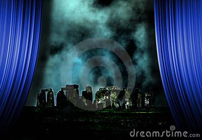 Stonehenge landscape and curtains