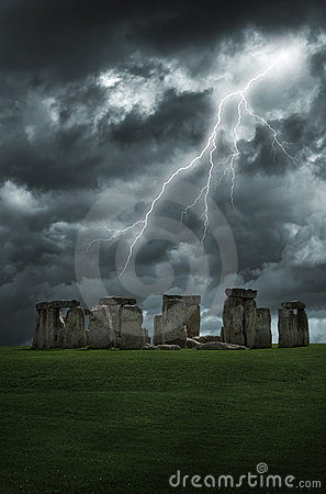 Free Stonehenge Lightning Storm Stock Photo - 13632210