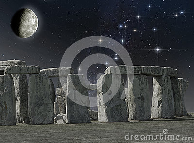 Stonehenge monument in the moonlight