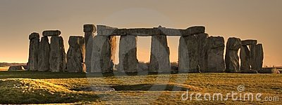 Stonehenge panorama at sunset