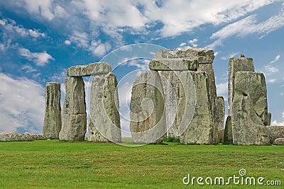 Stonehenge under a blue sky, England