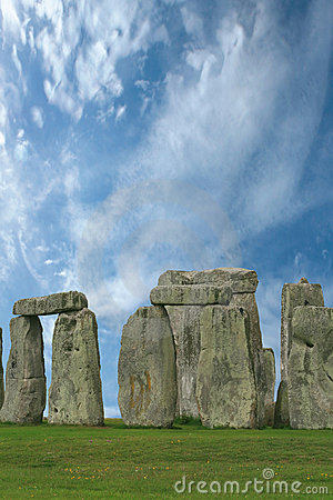 Stonehenge under a blue sky, England