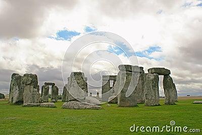 Stonehenge under a gloomy sky, England